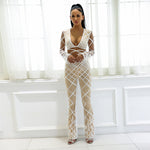 Boss Girl White Feather Crop Top & Trousers Two Piece Set - Fashion Genie Boutique