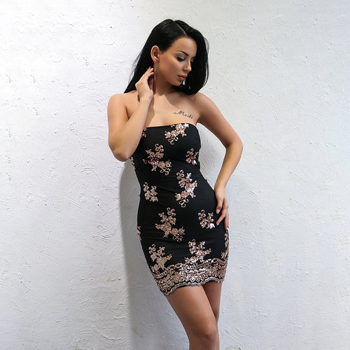 Glitz And Glamour Black And Rose Gold Sequin Strapless Mini Dress - Fashion Genie Boutique
