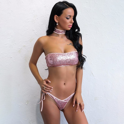Tickled Pink Sequin Choker Bikini - Fashion Genie Boutique