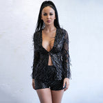 Spread Your Wings Black Feather Jacket & Shorts Co-Ord - Fashion Genie Boutique