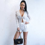 Spread Your Wings White Feather Jacket & Shorts Co-Ord - Fashion Genie Boutique