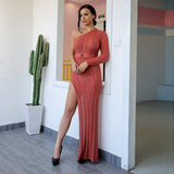 Knitty Or Nice Cinnamon Asymmetric Maxi Dress - Fashion Genie Boutique