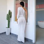 Knitty Or Nice White Asymmetric Maxi Dress - Fashion Genie Boutique