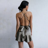 Dirty Martini Brown Satin Playsuit - Fashion Genie Boutique