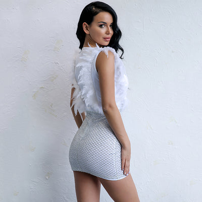Can't Be Tamed White Glitter Embellished Feather Mini Dress - Fashion Genie Boutique