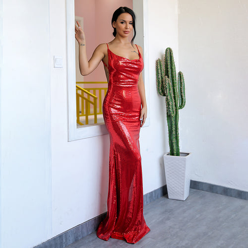 Show Me Off Red Sequin Backless Split Maxi Dress - Fashion Genie Boutique