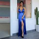 Cherished Blue Satin Split Maxi Dress - Fashion Genie Boutique
