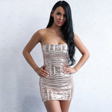 I See Fire Rose Gold Strapless Sequin Mini Dress - Fashion Genie Boutique