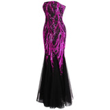 Ariel Sarah Pink & Black Sequin Fishtail Maxi Gown Dress - Fashion Genie Boutique