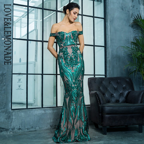 Sweetheart Green Bardot Sequin Maxi Fishtail Dress - Fashion Genie Boutique