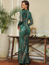 Oscar Night Green Sequin Long Sleeve Maxi Dress - Fashion Genie Boutique