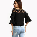 Right To Ruffle Black Frill Sleeve Top - Fashion Genie Boutique