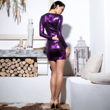 Under The Radar Purple Sheen Long Sleeve Ruffle Bow Mini Dress - Fashion Genie Boutique