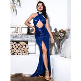 Seventh Wonder Blue Halter Front Split Maxi Gown Dress - Fashion Genie Boutique