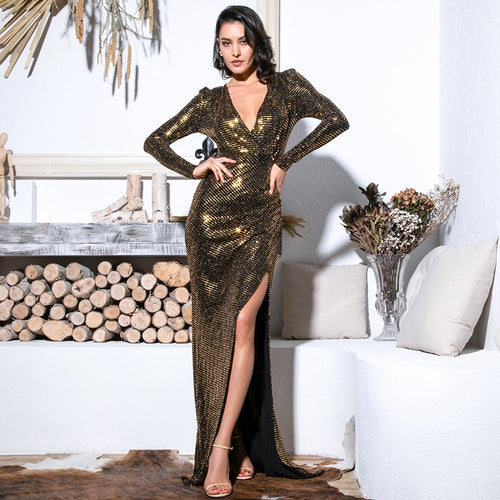 Earned It Gold Sequin Long Sleeve Maxi Gown Dress - Fashion Genie Boutique