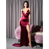 Sassy Lassie Burgundy Satin High Split Maxi Gown Dress - Fashion Genie Boutique