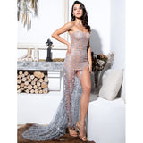 Queen Of The Ball Silver Glitter Strapless High Split Maxi Gown Dress - Fashion Genie Boutique