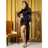 Boudoir Secrets Black Open Back Long Sleeve Mini Dress - Fashion Genie Boutique