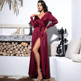 Pretty Thing Burgundy Satin Long Sleeve Wrap Maxi Dress - Fashion Genie Boutique