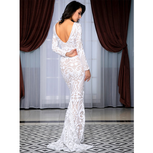 b2743f3923a Forever Flawless White Sequin Long Sleeve Maxi Fishtail Gown Dress -  Fashion Genie Boutique