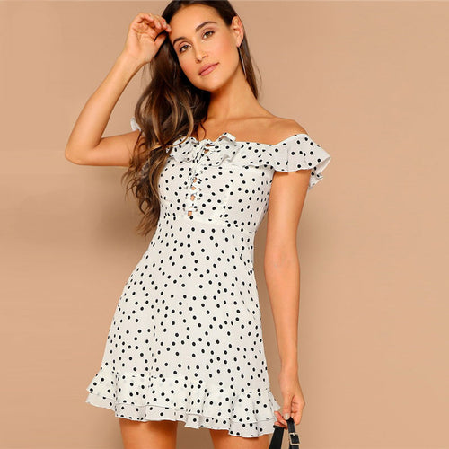 Beach House White Bardot Polka Dot Mini Dress - Fashion Genie Boutique