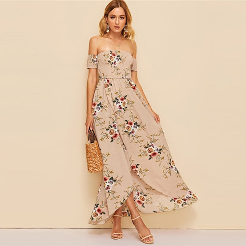 Blushing Blooms Nude Bardot Maxi Dress - Fashion Genie Boutique