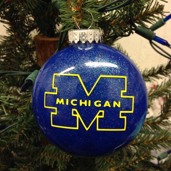 Holiday Christmas Tree Ornament College Football Michigan Wolverines