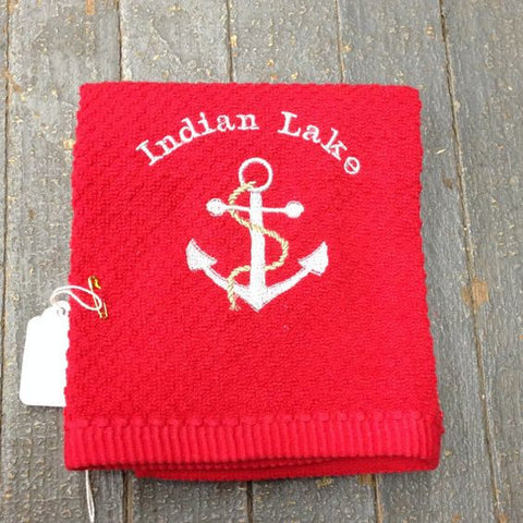 Red Embroidered Indian Lake Boat Anchor Dish Towel Nautical Dish Cloth
