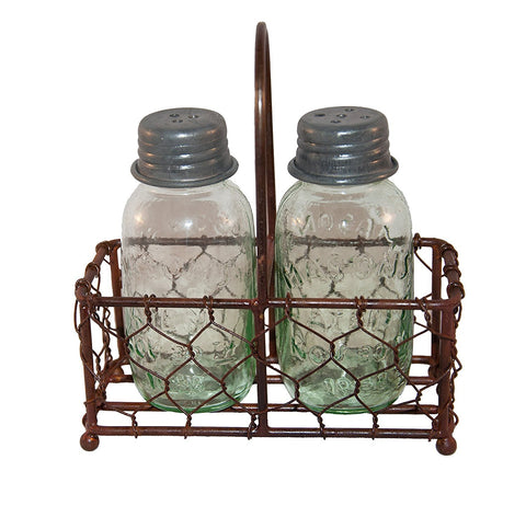 Chicken Wire Caddy Mason Jar Salt Pepper Shaker Set