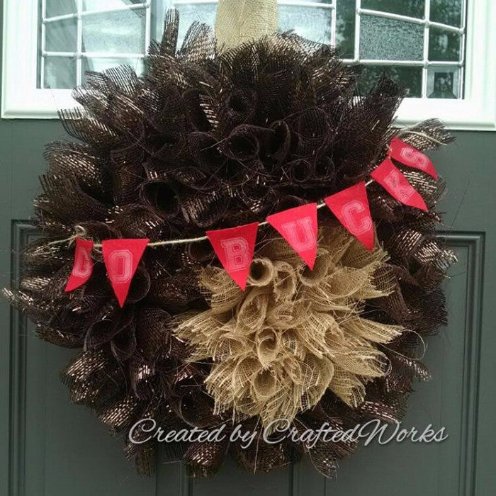 Burlap and Decomesh Ohio State Buckeye Buckeye Nut Go Bucks Wreath Door Hanger by Crafted Works