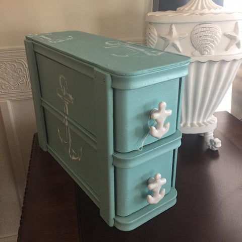 Sewing Box Painted Wood Nautical Anchor Drawer Storage Chest
