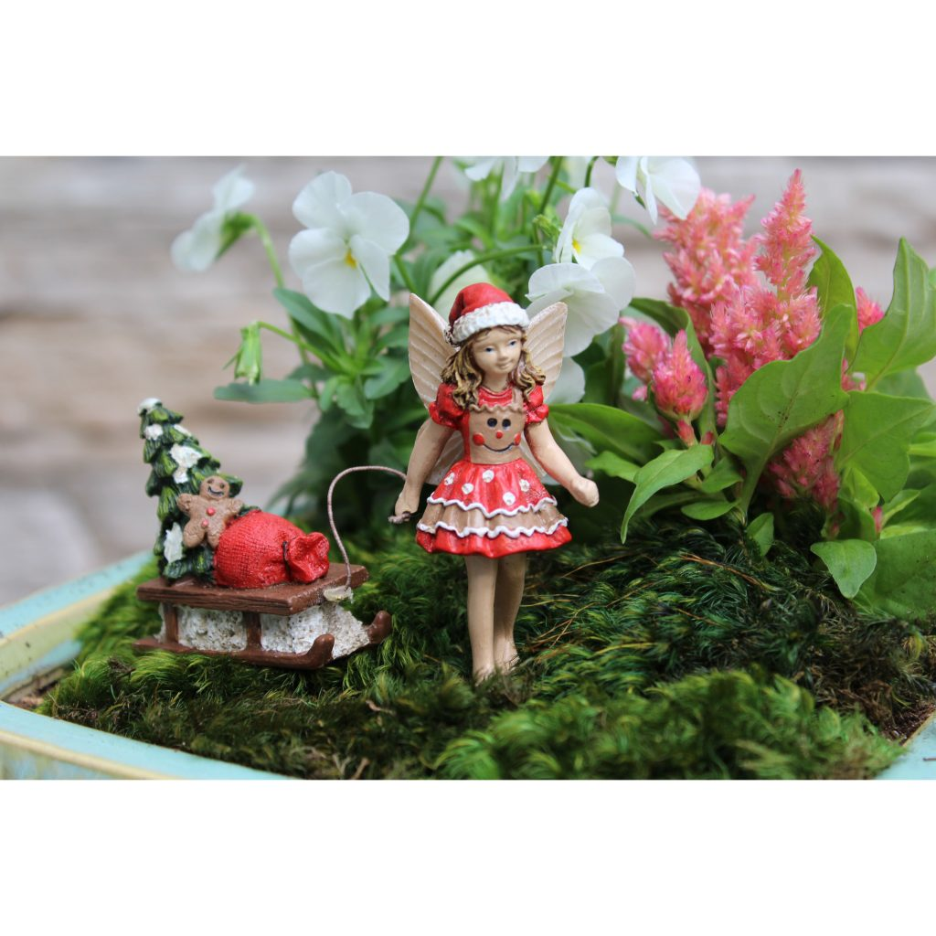 Fairy Garden Fairy  Ginger with Sleigh Statue Miniature