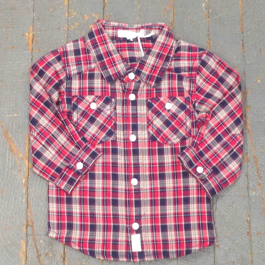 Pure Baby Organic Boys Long Sleeve Button Up Collared Red Navy Plaid Shirt