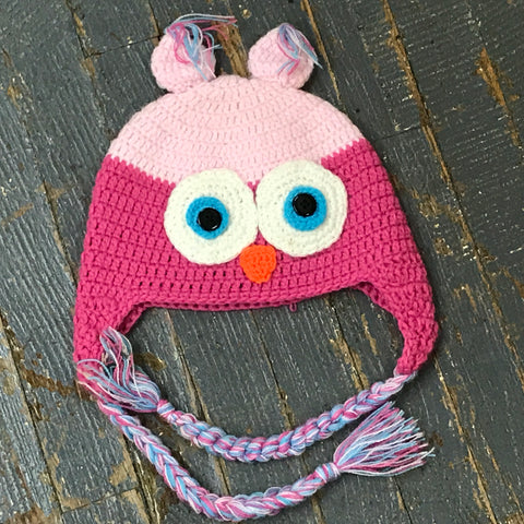 Crocheted Youth Toddler Child Winter Hat Owl Pink