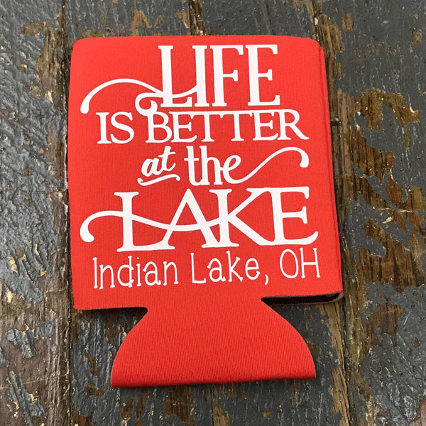 Standard Can Hugger Coozie Holder Indian Lake Ohio Life is Better at the Lake Tangerine