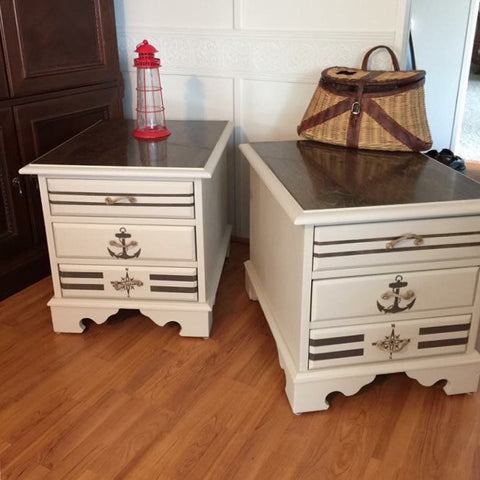 Hand Painted Nautical Wooden Side Lamp End Table Dressers