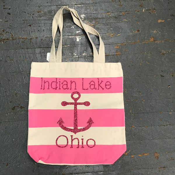 Indian Lake Ohio Canvas Shoulder Handle Beach Tote Bag Pink