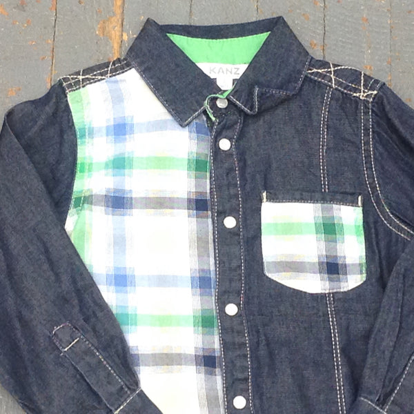Kanz Newborn Infant Boys Moped Ride Style Long Sleeve Button Up Collared Green Denim Plaid Shirt