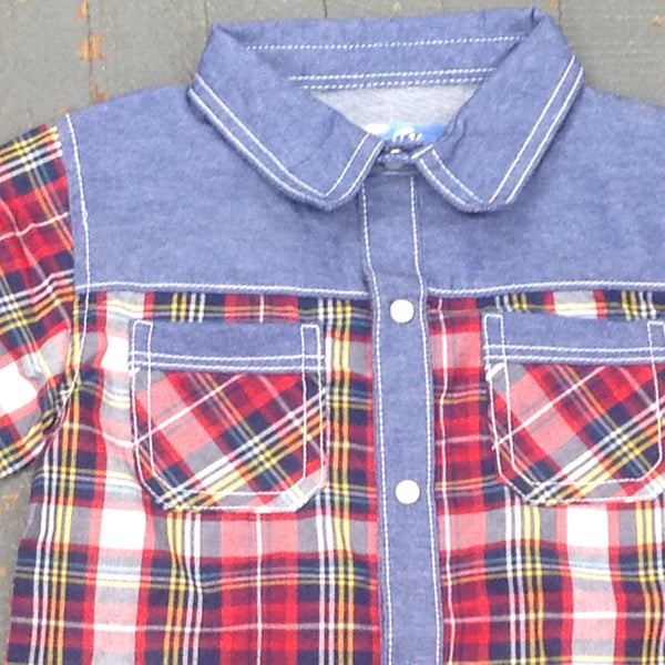 Kapital K Boys Style Short Sleeve Button Up Collared Red Denim Plaid Shirt