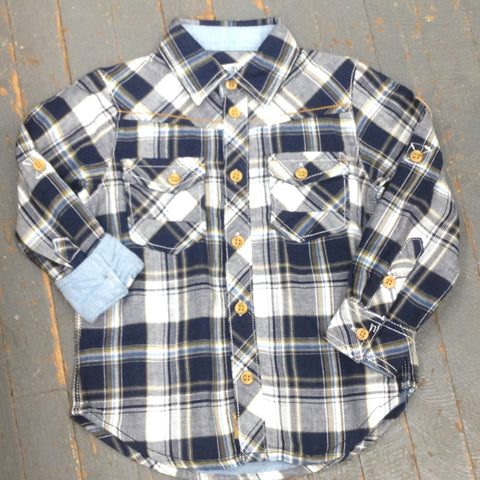 Kanz Junior Boys Explorer Style Long Sleeve Button Up Collared Navy Blue Plaid Shirt