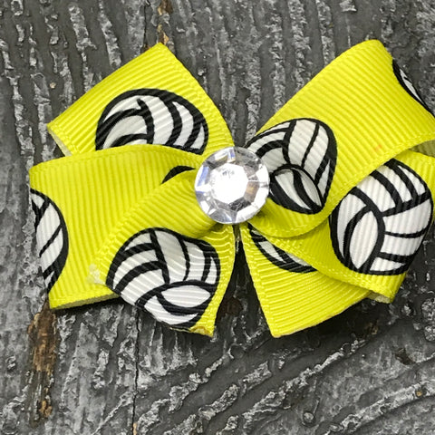Hair Clip Ribbon Headband Bow Sports Volleyball Yellow
