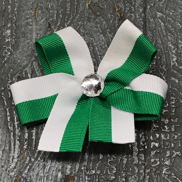 Hair Clip Ribbon Headband Bow Sports Team Color Green White