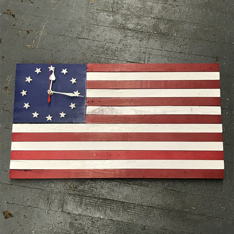American Flag Rectangle Wooden Clock