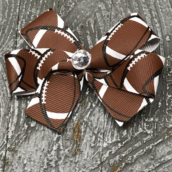 Hair Clip Ribbon Headband Bow Sports Team Football