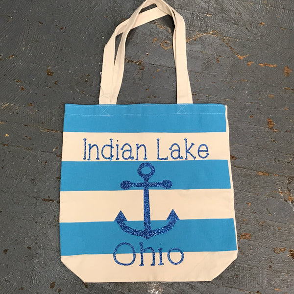 Indian Lake Ohio Canvas Shoulder Handle Beach Tote Bag Teal