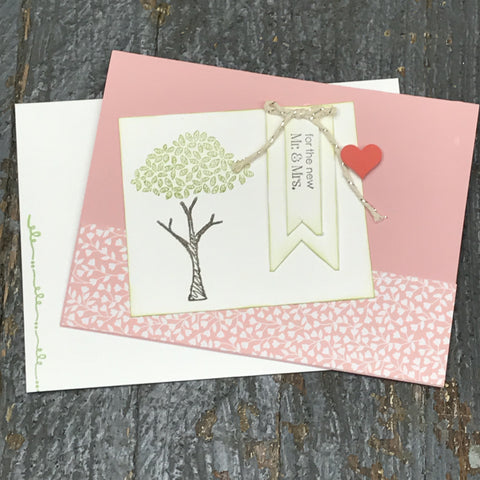 Wedding Congrats Mr Mrs Handmade Stampin Up Greeting Card with Envelope Front