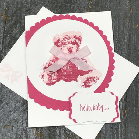 Hello Baby Arrival Pink Girl Handmade Stampin Up Greeting Card with Envelope Front