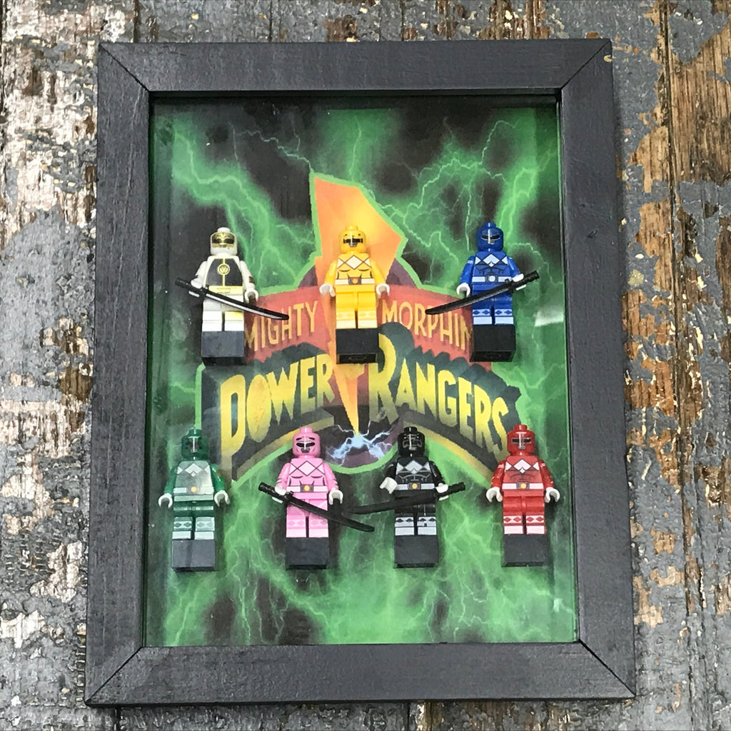 Mighty Morphine Power Rangers Superhero Lego Figurine Wall Display Picture Frame Toy Art