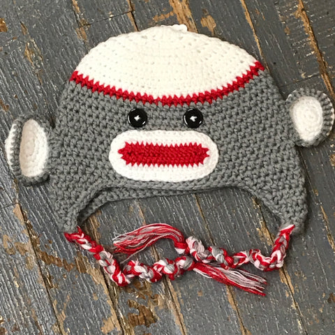 Crocheted Youth Toddler Child Winter Hat Sock Monkey