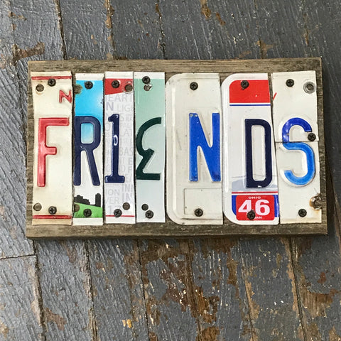 Friends License Plate Block Word Art